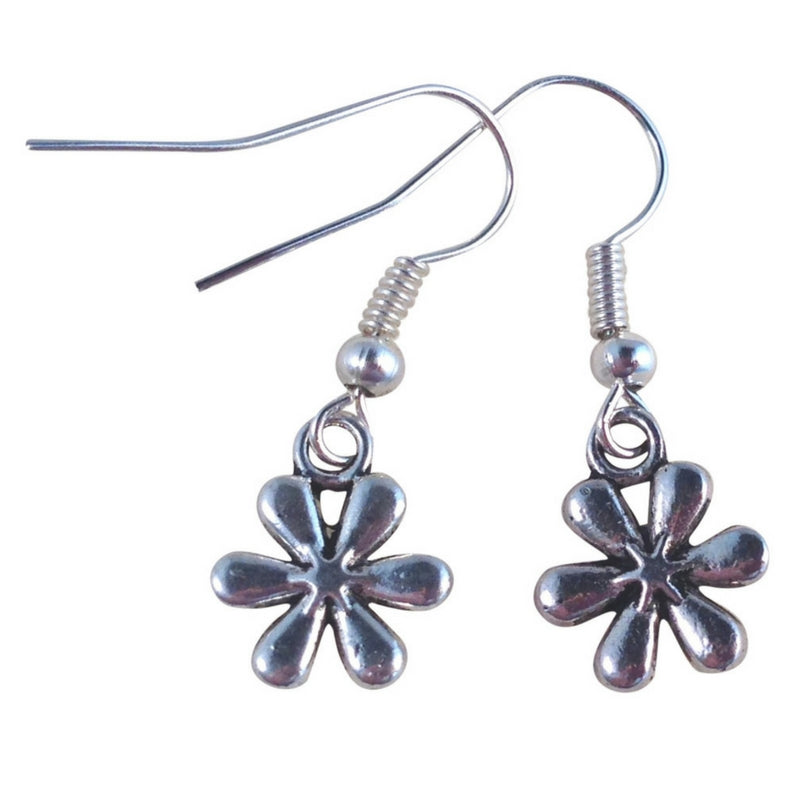 DAISY FLOWER EARRINGS Tibetan Style Silver Tone Charms on Nickelfree Hooks