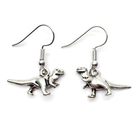 DINOSAUR EARRINGS Tibetan Style Silver Tone Charms on Nickelfree Hooks