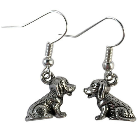 DOG EARRINGS Tibetan Style Silver Tone Charms on Nickelfree Hooks Puppy