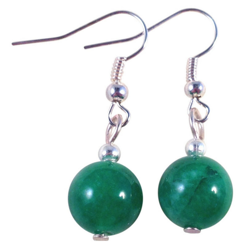 JADE 10mm Round Earrings on Nickelfree Silver Tone Hooks