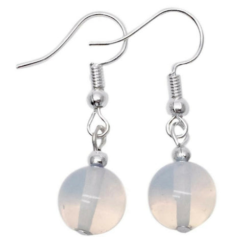 Opalite MOONSTONE 10mm Round Earrings on Nickelfree Silver Tone Hooks