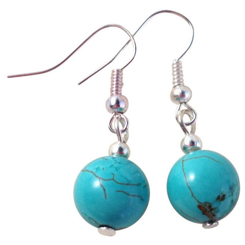 TURQUOISE 10mm Round Earrings on Nickelfree Silver Tone Hooks