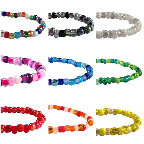 PEACE Sign Charm BRACELET 9 Colour Choices Seed Glass Beads and Silver Tone Beads - Vilda Fashion Jewellery - 2