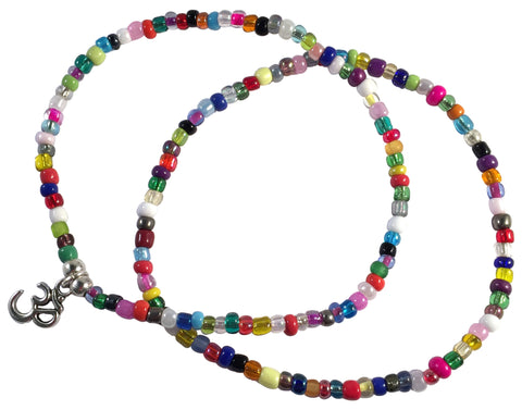 ANKLET SET 1 Plain and 1 Ohm Yoga Charm Design 9 Colours Glass Beads - Vilda Fashion Jewellery - 3