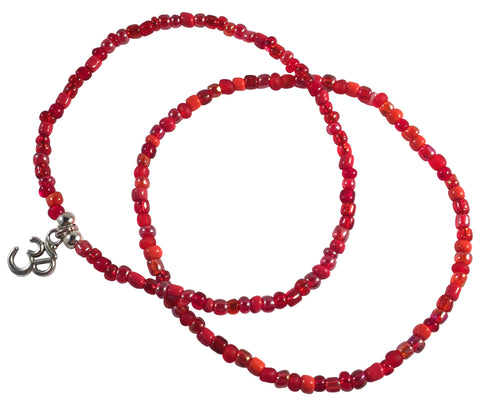 ANKLET SET 1 Plain and 1 Ohm Yoga Charm Design 9 Colours Glass Beads - Vilda Fashion Jewellery - 1