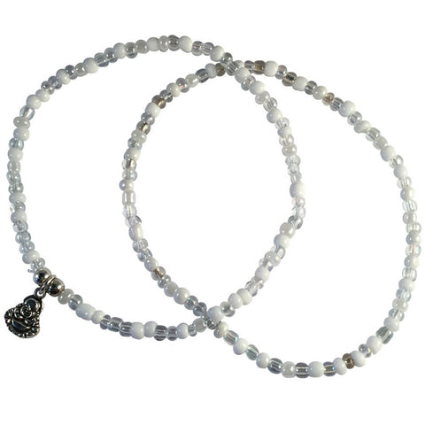 ANKLET SET 1 Plain and 1 Buddha Charm Design 9 Colours Glass Beads