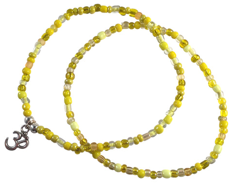 ANKLET SET 1 Plain and 1 Ohm Yoga Charm Design 9 Colours Glass Beads - Vilda Fashion Jewellery - 4