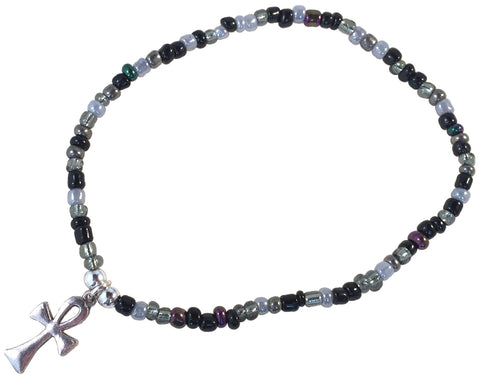 ANKLET with ANKH Charm 9 Colour Choices Slim Glass Seed Beads Mix - Vilda Fashion Jewellery - 1