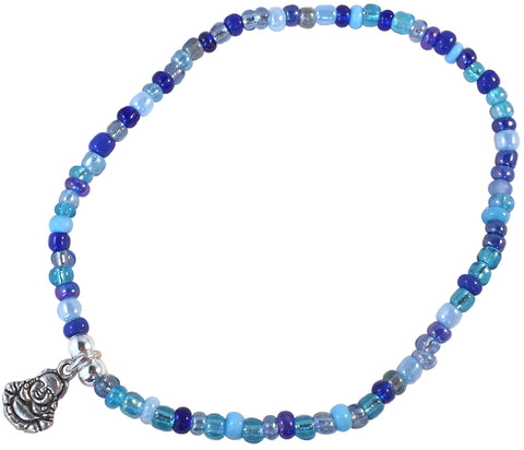 ANKLET with Small BUDDHA Charm 9 Colour Choices Slim Glass Seed Beads Mix