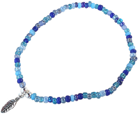 ANKLET with Small FEATHER Charm 9 Colour Choices Slim Glass Seed Beads Mix - Vilda Fashion Jewellery - 3