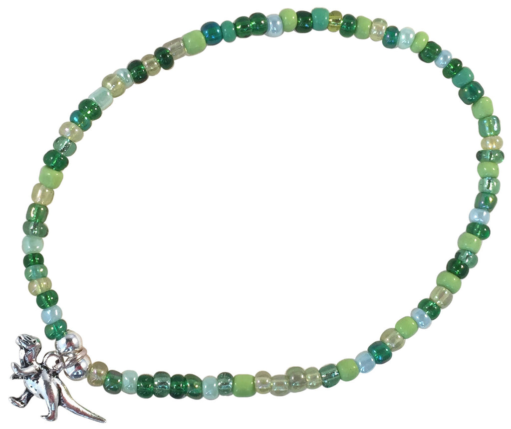 ANKLET with DINOSAUR Charm 9 Colour Choices Slim Glass Seed Beads Mix - Vilda Fashion Jewellery - 1