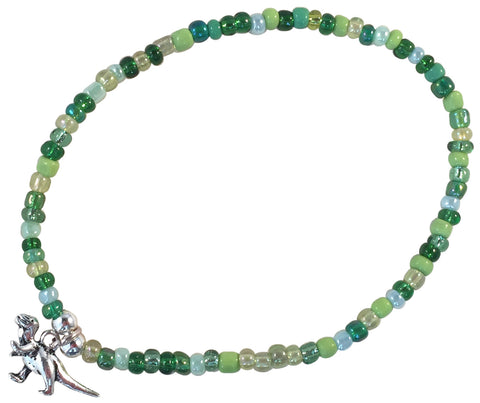 ANKLET with DINOSAUR Charm 9 Colour Choices Slim Glass Seed Beads Mix