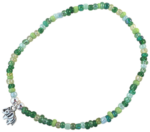 ANKLET with Small ELEPHANT Charm 9 Colour Choices Slim Glass Seed Beads Mix - Vilda Fashion Jewellery - 4