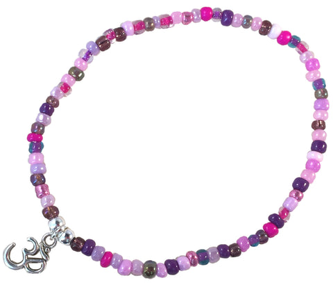 ANKLET with OHM Yoga Charm 9 Colour Choices Slim Glass Seed Beads Mix