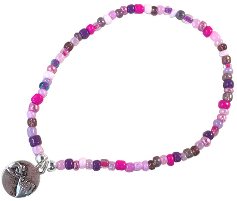 ANKLET with PINKY PROMISE Charm 9 Colour Choice Slim Glass Seed Beads Mix - Vilda Fashion Jewellery - 1
