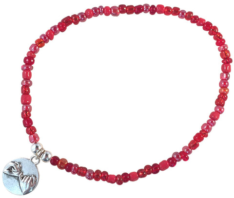 ANKLET with PINKY PROMISE Charm 9 Colour Choice Slim Glass Seed Beads Mix - Vilda Fashion Jewellery - 4