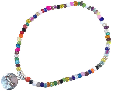 ANKLET with PINKY PROMISE Charm 9 Colour Choice Slim Glass Seed Beads Mix - Vilda Fashion Jewellery - 3