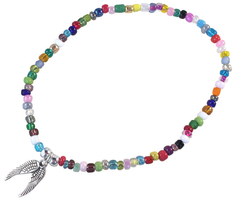 ANKLET with ANGEL WINGS Charm 9 Colour Choices Slim Glass Seed Beads Mix