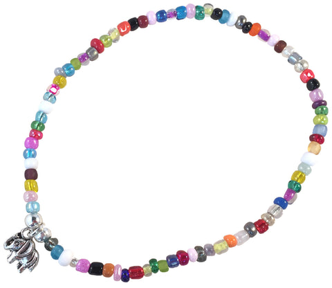 ANKLET with Small ELEPHANT Charm 9 Colour Choices Slim Glass Seed Beads Mix - Vilda Fashion Jewellery - 1