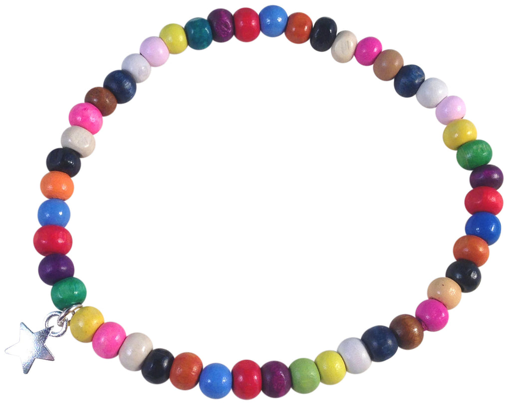 ANKLET with STAR Charm Multi-Colour Wooden Beads on Elastic - Vilda Fashion Jewellery - 1