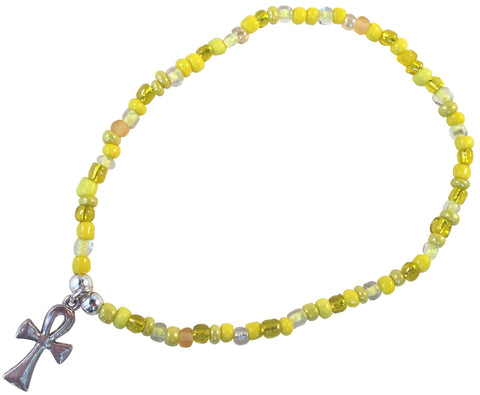 ANKLET with ANKH Charm 9 Colour Choices Slim Glass Seed Beads Mix - Vilda Fashion Jewellery - 3