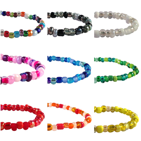 ANKLET Slim 9 Colour Choices Glass Seed Beads on Elastic with Small Heart Carm - Vilda Fashion Jewellery - 2