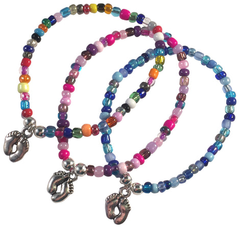 Baby Feet Charm BRACELET 9 Colour Choices Seed Glass Beads and Silver Tone Beads New Mum - Vilda Fashion Jewellery - 1