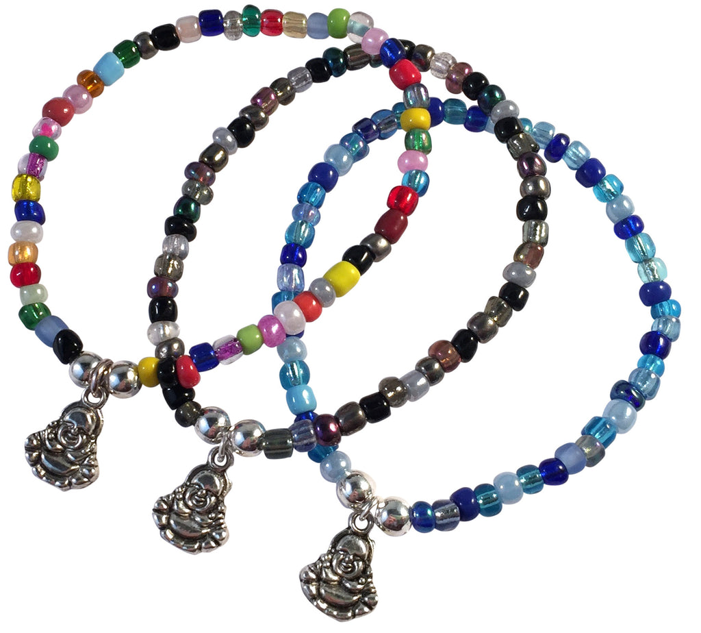 Buddha Charm BRACELET 9 Colour Choices Seed Glass Beads and Silver Tone Beads Meditation - Vilda Fashion Jewellery - 1