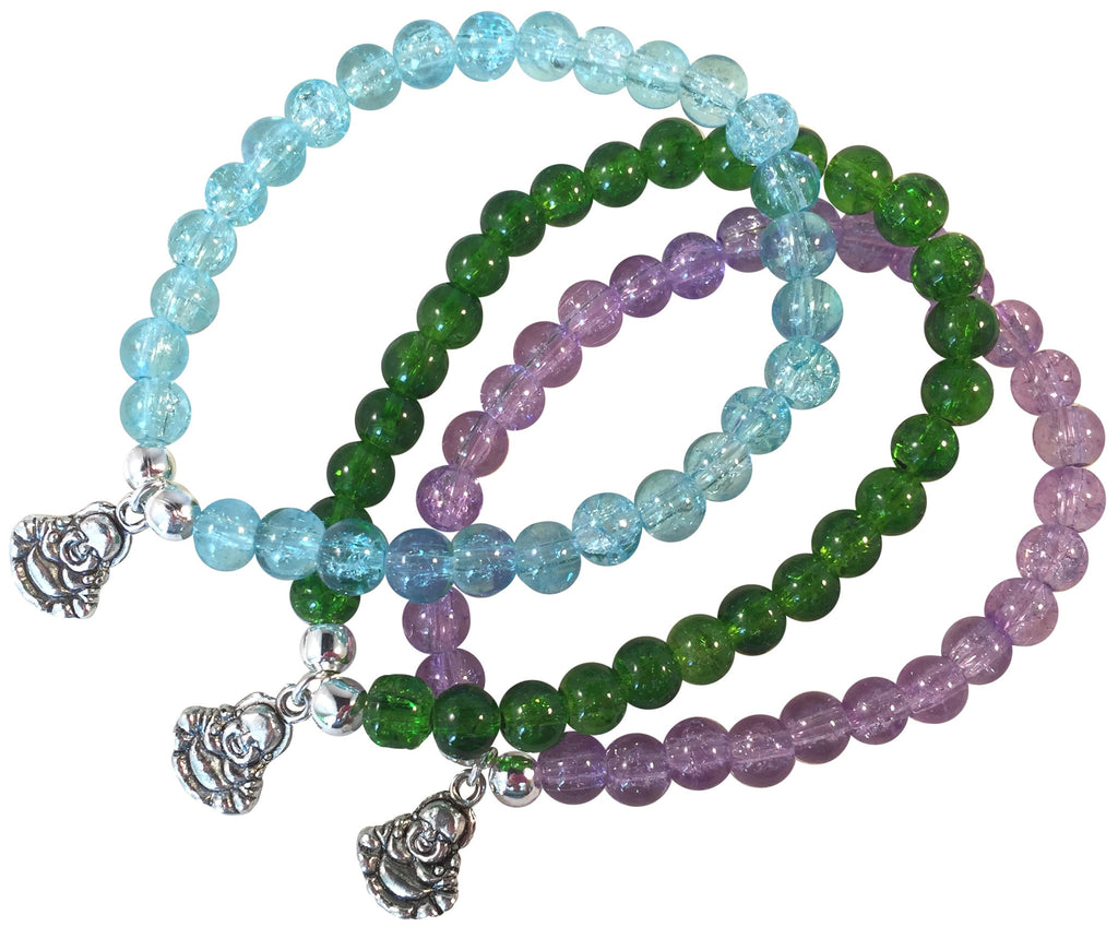 BUDDHA Charm BRACELET 10 Colours with 6mm Crackle Glass Beads and Silver Tone Beads - Vilda Fashion Jewellery - 1