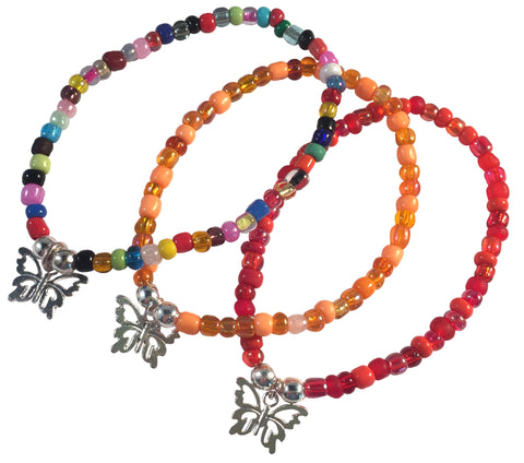 Butterfly Charm BRACELET 9 Colour Choices Seed Glass Beads and Silver Tone Beads