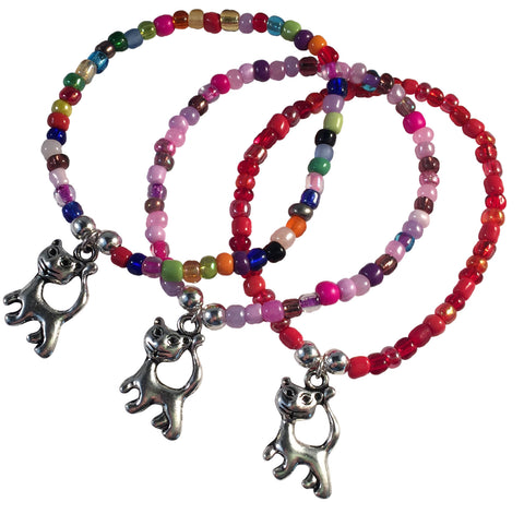 Cat Charm BRACELET 9 Colour Choices Seed Glass Beads and Silver Tone Beads