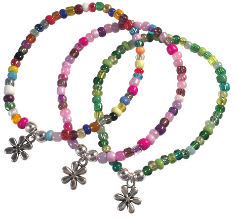 Daisy Flower Charm BRACELET 9 Colour Choices Seed Glass Beads and Silver Tone Beads