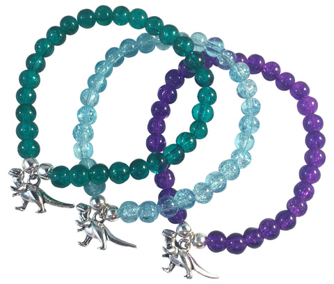 DINOSAUR Charm BRACELET 10 Colours with 6mm Crackle Glass Beads and Silver Tone Beads
