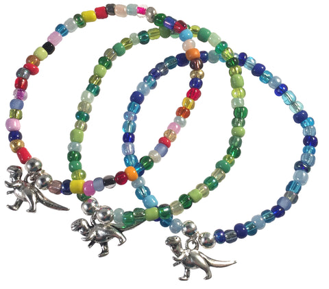 Dinosaur Charm BRACELET 9 Colour Choices Seed Glass Beads and Silver Tone Beads