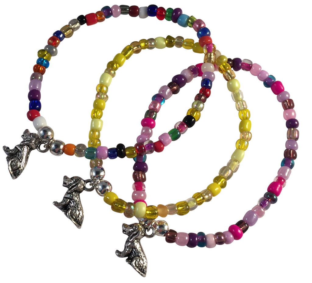 DOG Charm BRACELET 9 Colour Choices Seed Glass Beads and Silver Tone Beads - Vilda Fashion Jewellery - 1
