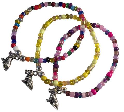 DOG Charm BRACELET 9 Colour Choices Seed Glass Beads and Silver Tone Beads