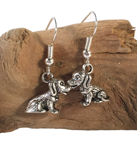 DOG EARRINGS Tibetan Style Silver Tone Charms on Nickelfree Hooks Puppy - Vilda Fashion Jewellery - 2