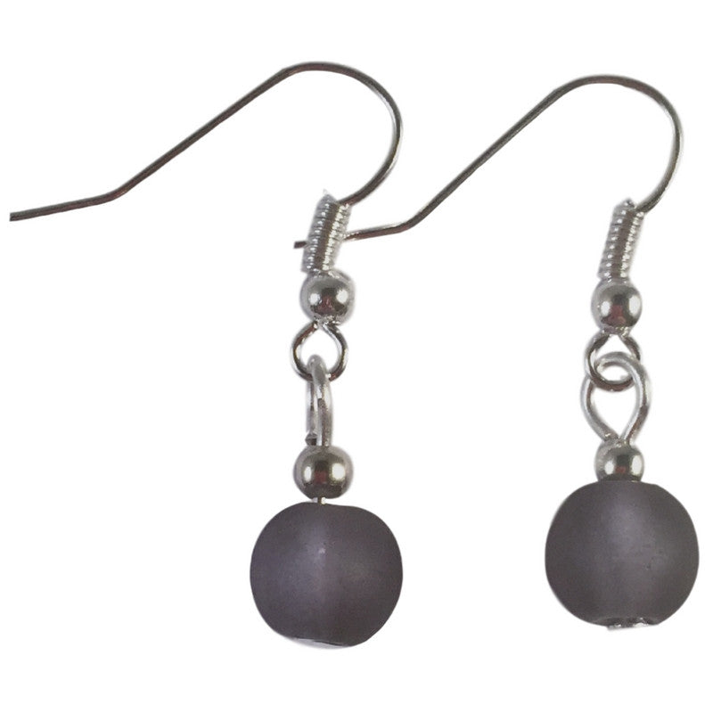 BLACK Frosted Glass Bead Earrings on Nickelfree Silver Tone Hooks - Vilda Fashion Jewellery - 1
