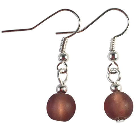 BROWN Frosted Glass Bead Earrings on Nickelfree Silver Tone Hooks
