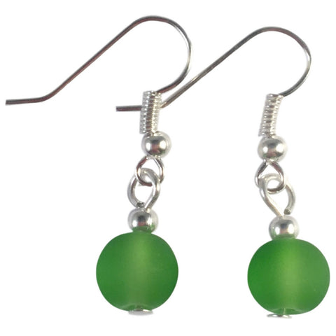 GREEN Frosted Glass Bead Earrings on Nickelfree Silver Tone Hooks - Vilda Fashion Jewellery - 1