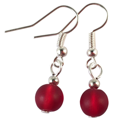 RED Frosted Glass Bead Earrings on Nickelfree Silver Tone Hooks - Vilda Fashion Jewellery - 1