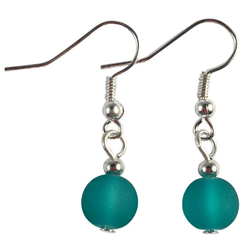 TEAL GREEN Frosted Glass Bead Earrings on Nickelfree Silver Tone Hooks