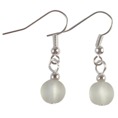 WHITE Frosted Glass Bead Earrings on Nickelfree Silver Tone Hooks