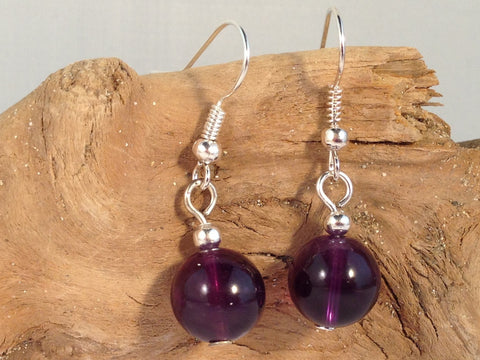 AMETHYST 10mm Round Earrings on Nickelfree Silver Tone Hooks - Vilda Fashion Jewellery - 2