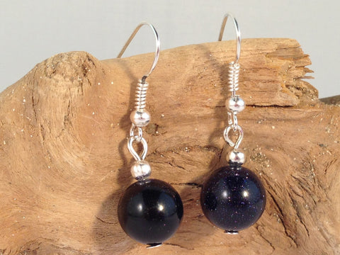 BLUE GOLDSTONE 10mm Round Earrings on Nickelfree Silver Tone Hooks - Vilda Fashion Jewellery - 2