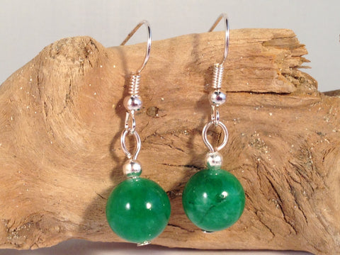 JADE 10mm Round Earrings on Nickelfree Silver Tone Hooks - Vilda Fashion Jewellery - 2