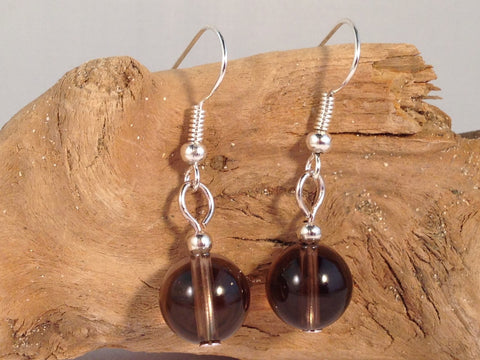 SMOKEY QUARTZ 10mm Round Earrings on Nickelfree Silver Tone Hooks - Vilda Fashion Jewellery - 2