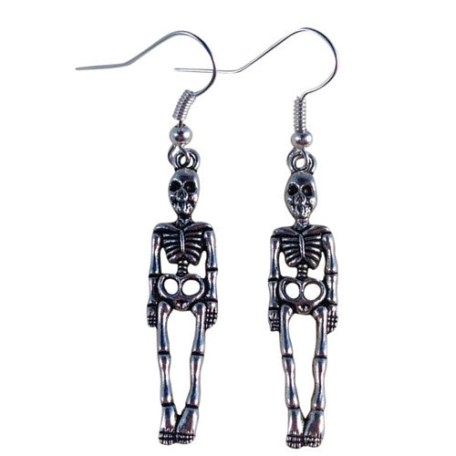 SKELETON EARRINGS Tibetan Style Silver Tone Charms on Nickelfree Hooks - Vilda Fashion Jewellery