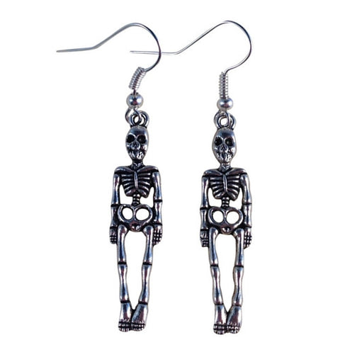 SKELETON EARRINGS Tibetan Style Silver Tone Charms on Nickelfree Hooks