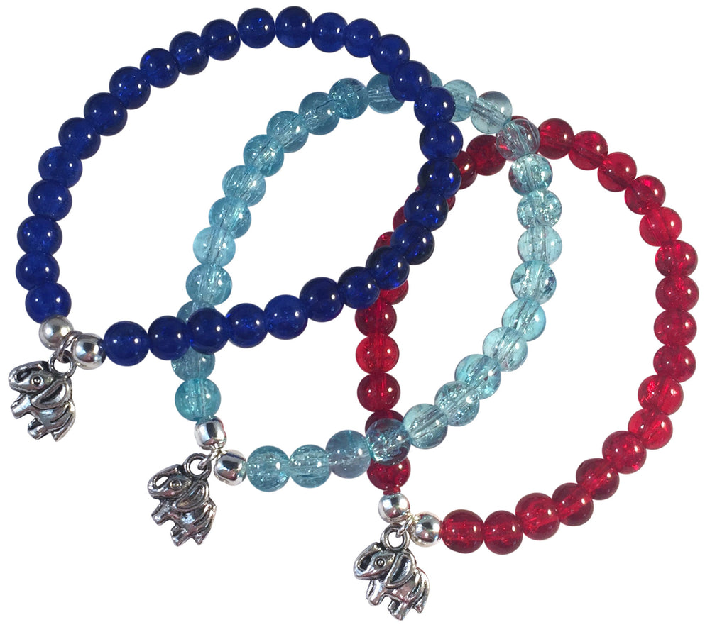 ELEPHANT Charm BRACELET 10 Colours with 6mm Crackle Glass Beads and Silver Tone Beads - Vilda Fashion Jewellery - 1